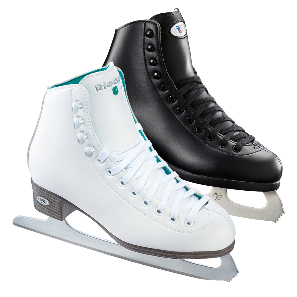 Riedell Model 110 Opal Ice Skate Set with Sprial Stainless Blade - White or Black