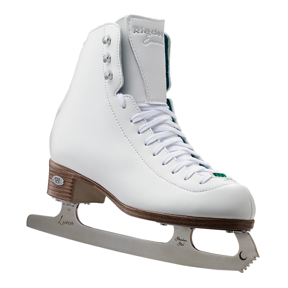 Riedell Model 119 Emerald Ice Figure Skate Set with Luna Blade - Black and White