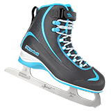 Riedell Model 615 Soar Jr. Skate Set with Spiral Stainless Blade - Gray with Blue Trim