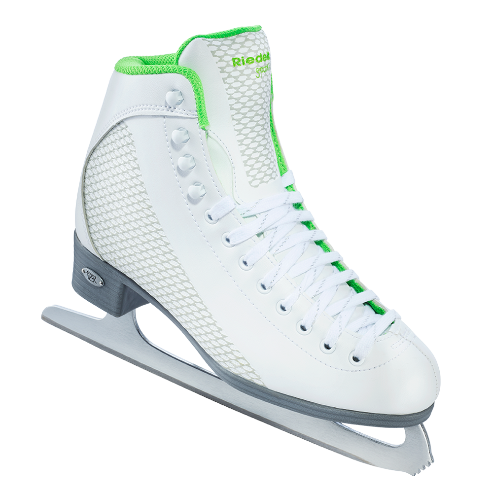 Riedell Sparkle Skate Set with Spiral Stainless Blade - White with Lime Trim