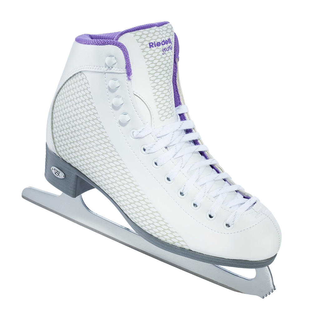 Riedell Sparkle Skate Set with Spiral Stainless Blade- White with Violet Trim
