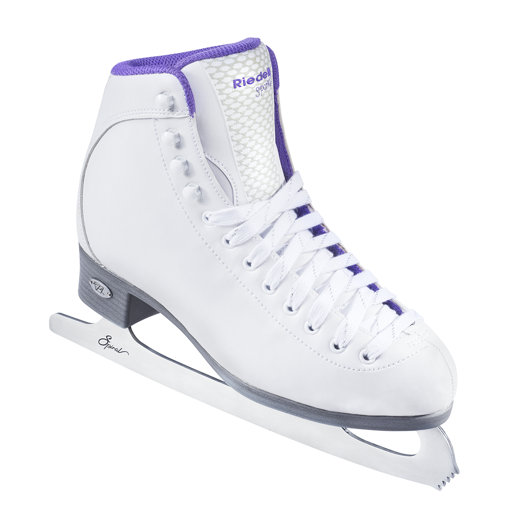 Riedell Model 118 Sparkle Skate Set with Spiral Stainless Blade- White and Violet