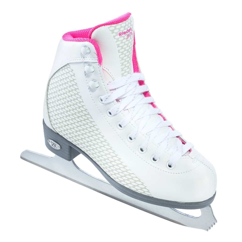 Riedell 13 Sparkle Jr. Skate Set with Spiral Stainless Blade - White wth Pink Trim