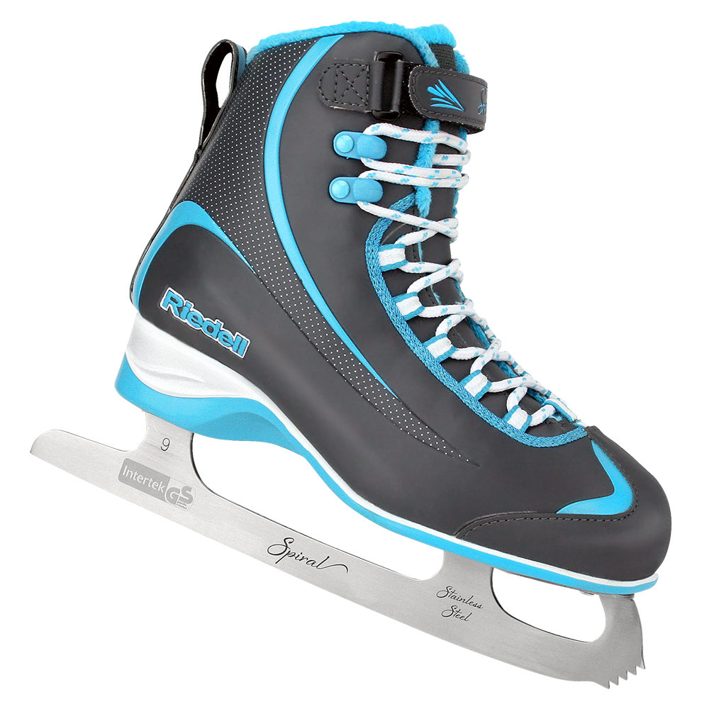 Riedell Model 625 Soar Skate Set with Spiral Stainless Blade - Steel Gray with Blue Trim