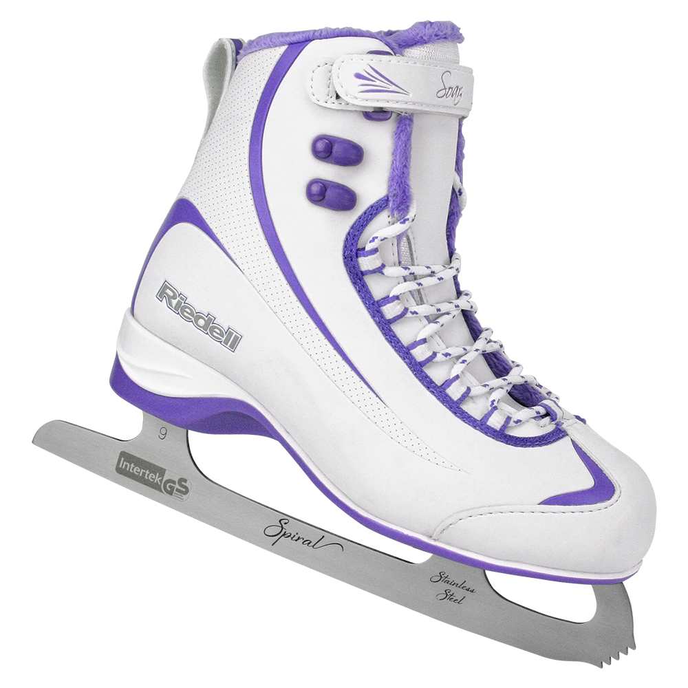 Riedell Model 625 Soar Skate Set with Spiral Stainless Blade - White with Violet Trim