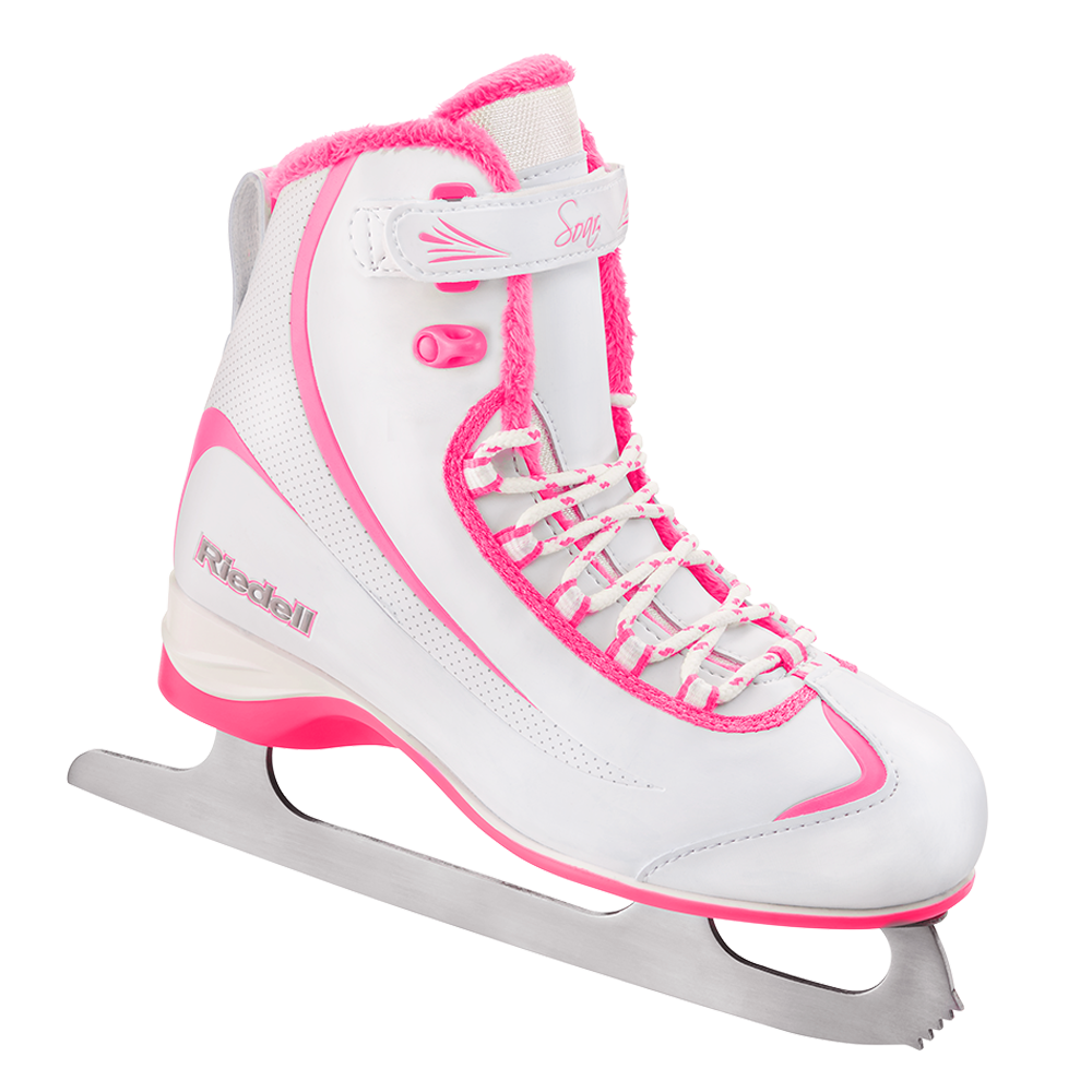 Riedell Model 615 Soar Jr. Skate Set with Spiral Stainless Blade - White with Pink Trim