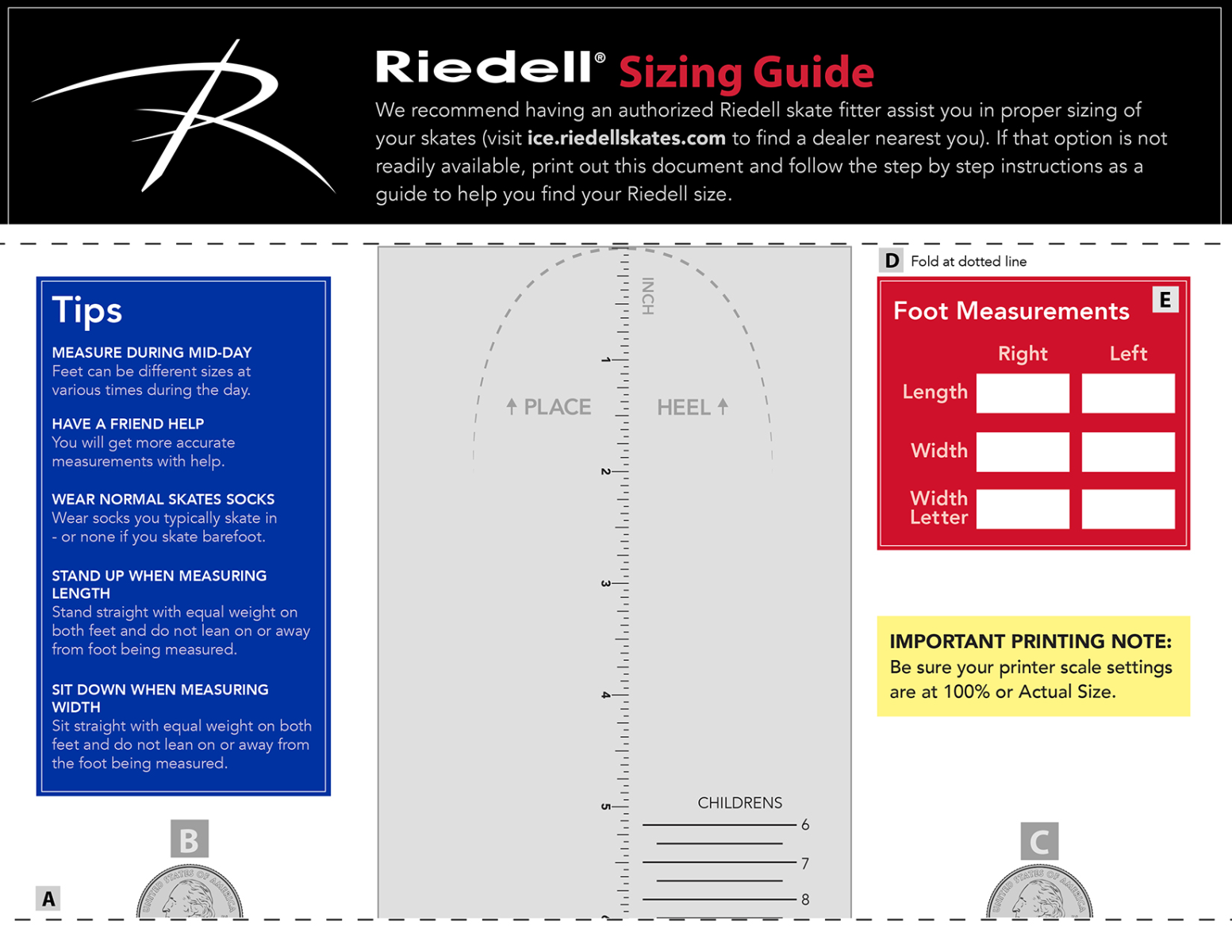 Click to download Riedell's Ice Skate Sizing Guide.